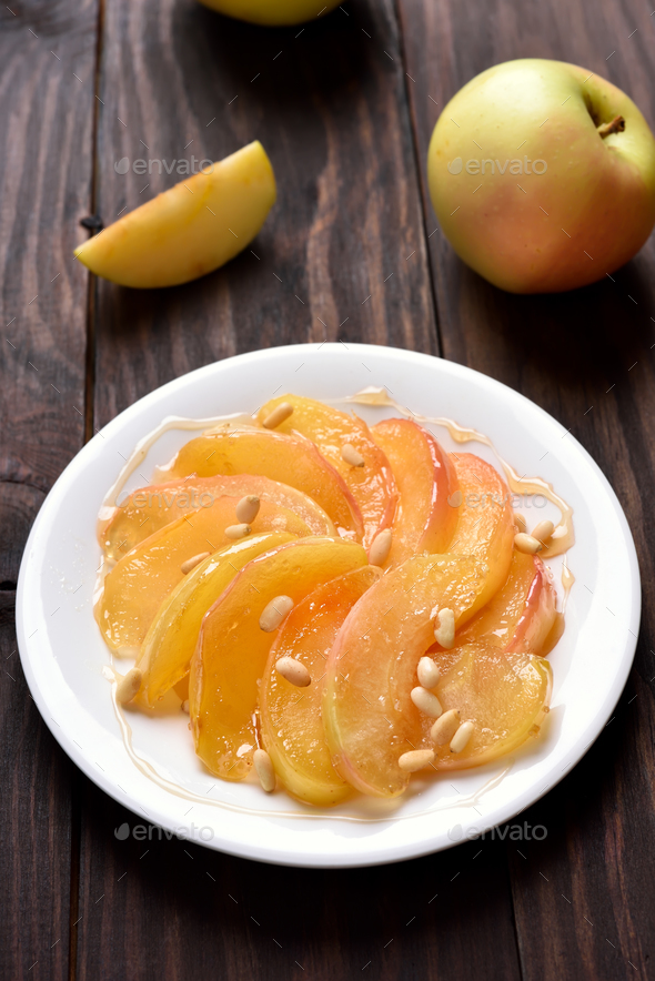 Caramelized apple slices - Stock Photo - Images