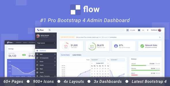 Download Flow Pro - Bootstrap 4 Admin Dashboard            nulled nulled version
