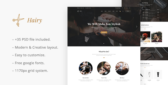 ThemeForest Hairy Barber Salon PSD Template 21054573