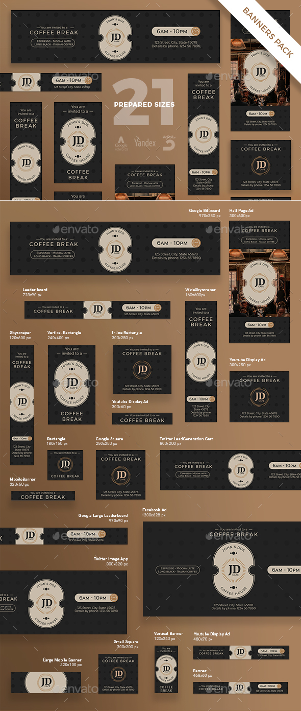 GraphicRiver Coffee Break Banner Pack 21129151