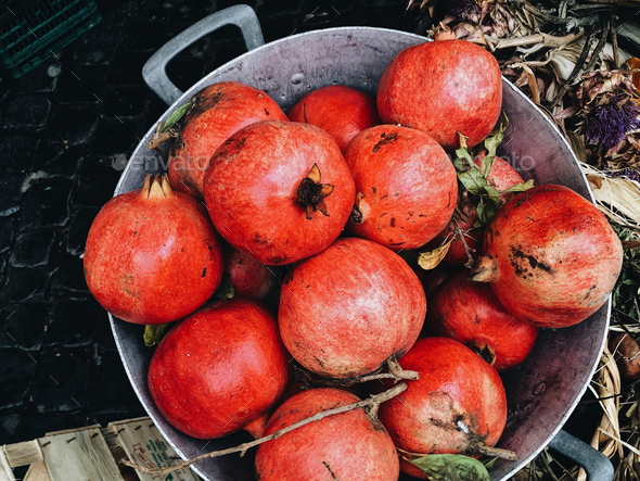 harvest ripe pomegranate - Stock Photo - Images