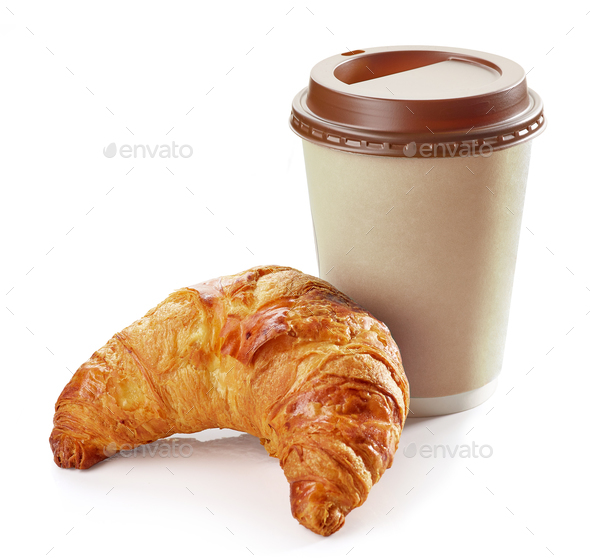 freshly baked croissant and coffee - Stock Photo - Images
