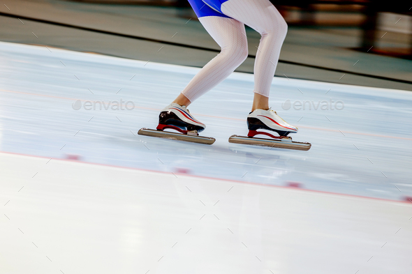 woman legs athlete speed skater  - Stock Photo - Images