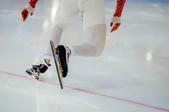 start legs men athletes speed skaters - Stock Photo - Images