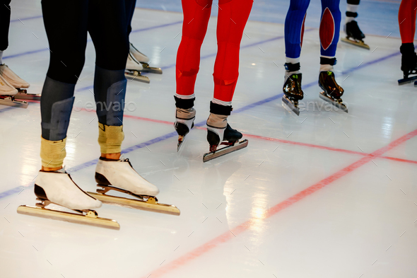 legs men athletes speed skaters - Stock Photo - Images