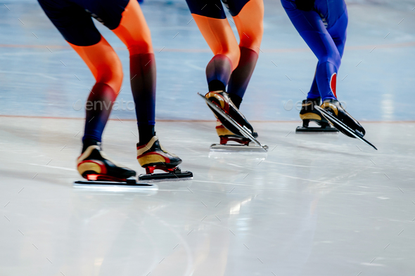 legs women athletes speed skaters - Stock Photo - Images