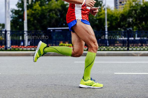 feet athlete man running - Stock Photo - Images
