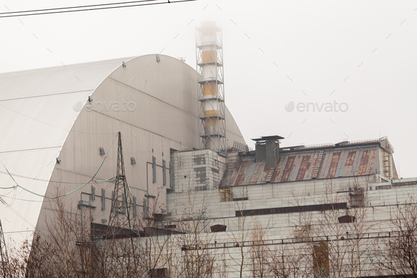 Chernobyl, Ukraine. 3 and 4 block of Chernobyl nuclear power plant - Stock Photo - Images