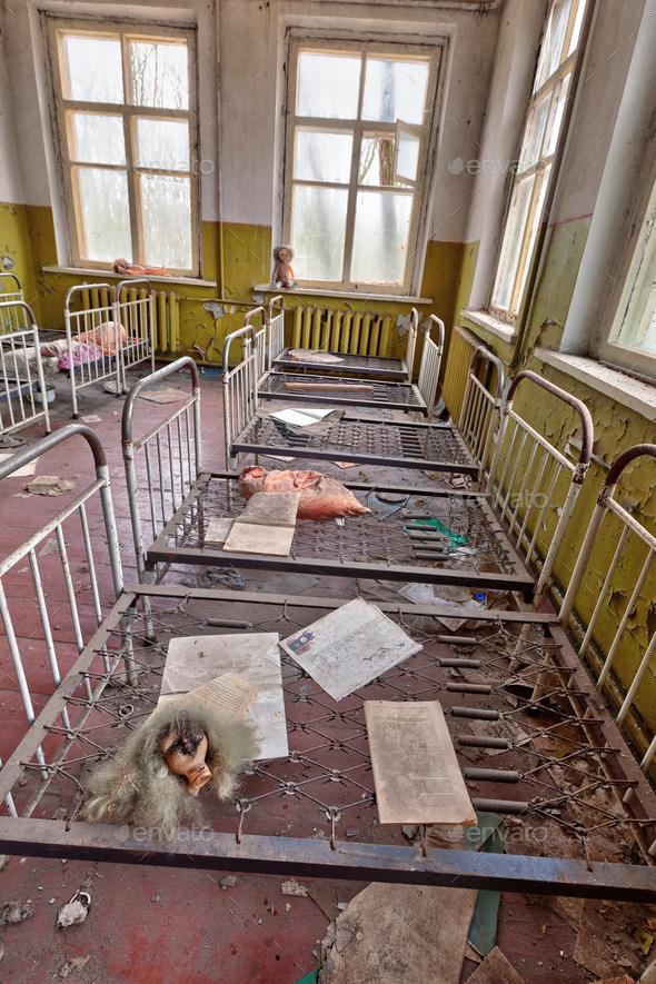 Ruined kindergarten in Chernobyl - Stock Photo - Images