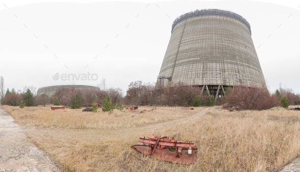 Outside view on unfinished cooling towers of Chernobyl nuclear power plant - Stock Photo - Images