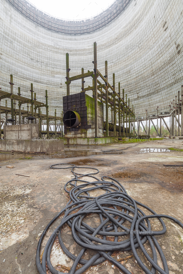 Futuristic view inside of cooling tower of unfinished Chernobyl nuclear power plant - Stock Photo - Images
