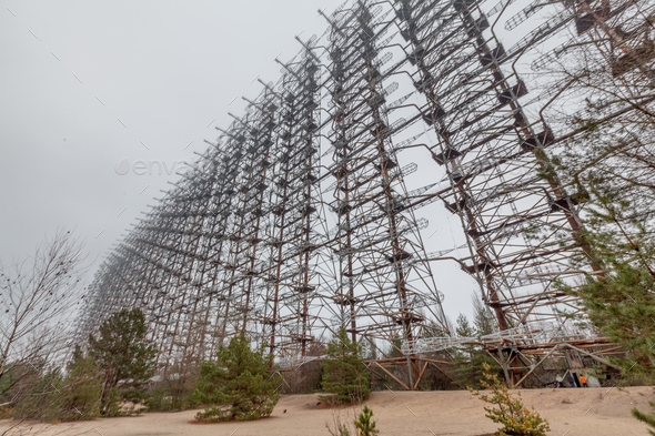 Soviet Radar System Duga near Chernobyl Nuclear Power Plant - Stock Photo - Images