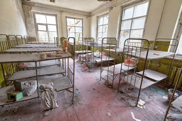 Ruined room in kindergarten in Chernobyl. - Stock Photo - Images