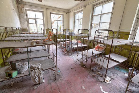 Ruined room in kindergarten in Chernobyl. - Stock Photo - Images