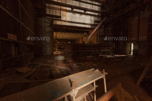 Inside of abandoned theater in ghost city Pripyat. - Stock Photo - Images