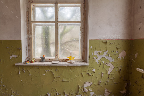 Window in old abandoned house in Chernobyl - Stock Photo - Images