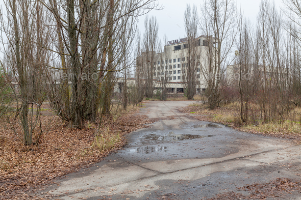 Abandoned buildings in overgrown ghost city Pripyat. - Stock Photo - Images