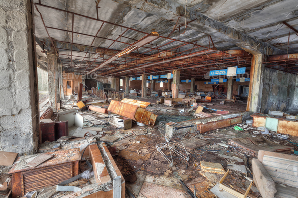 Ruined supermarket in overgrown ghost city Pripyat. - Stock Photo - Images