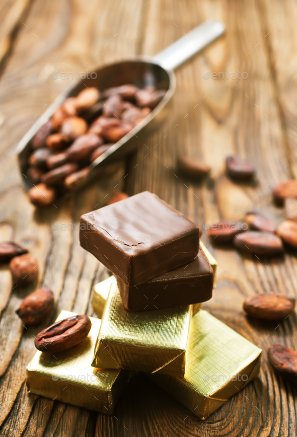 chocolate and cocoa beans - Stock Photo - Images