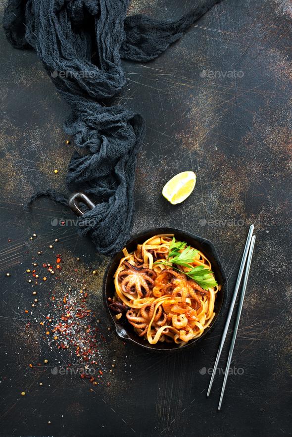 fried spaghetti - Stock Photo - Images