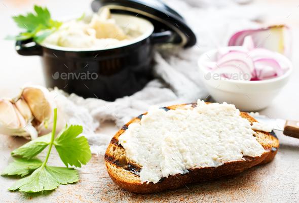 lard with garlic - Stock Photo - Images
