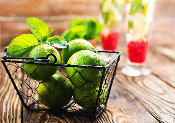 fresh drink and limes - Stock Photo - Images