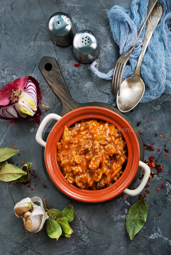 minced meat with rice - Stock Photo - Images