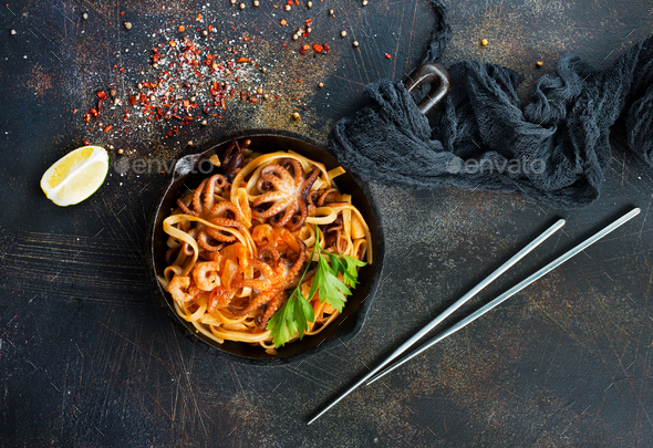 fried spaghetti - Stock Photo - Images