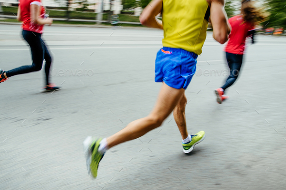 blurred motion group people runners - Stock Photo - Images