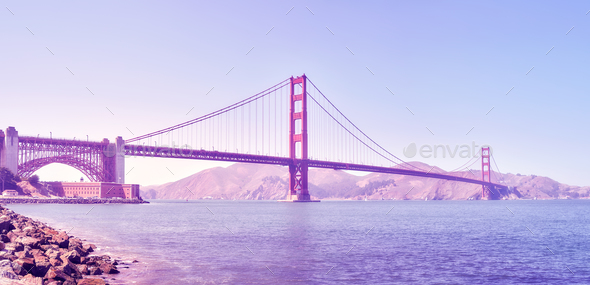 Panoramic picture of the Golden Gate Bridge, USA. - Stock Photo - Images