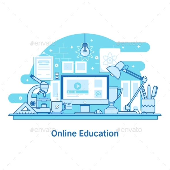 E-Learning Education Online Line Design Concept - Miscellaneous Vectors
