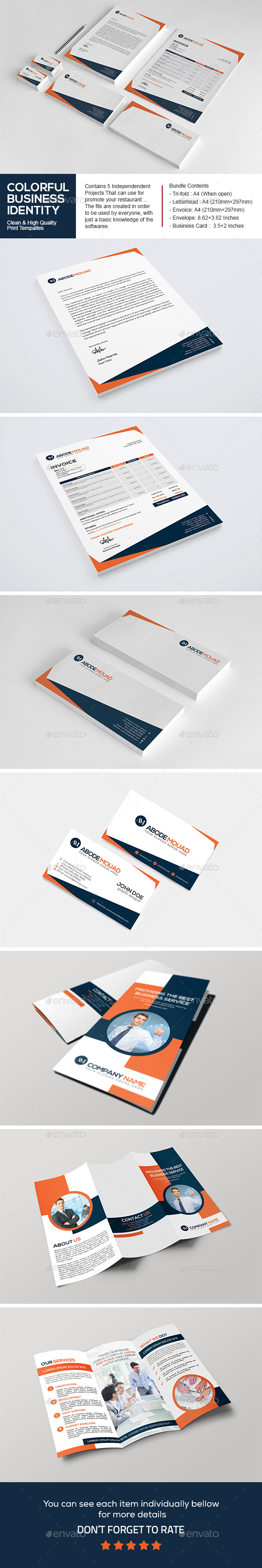 Colorful Business Identity Bundle - Stationery Print Templates
