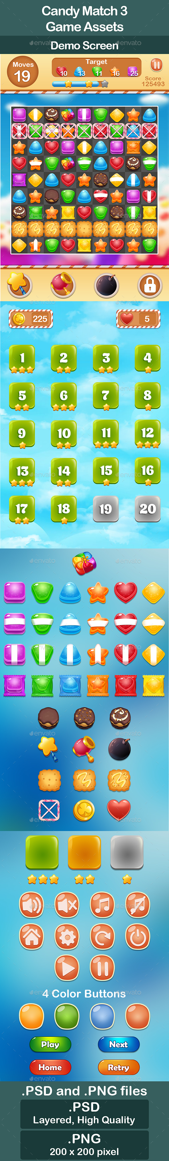 GraphicRiver Candy Match 3 Game Assets 21123928