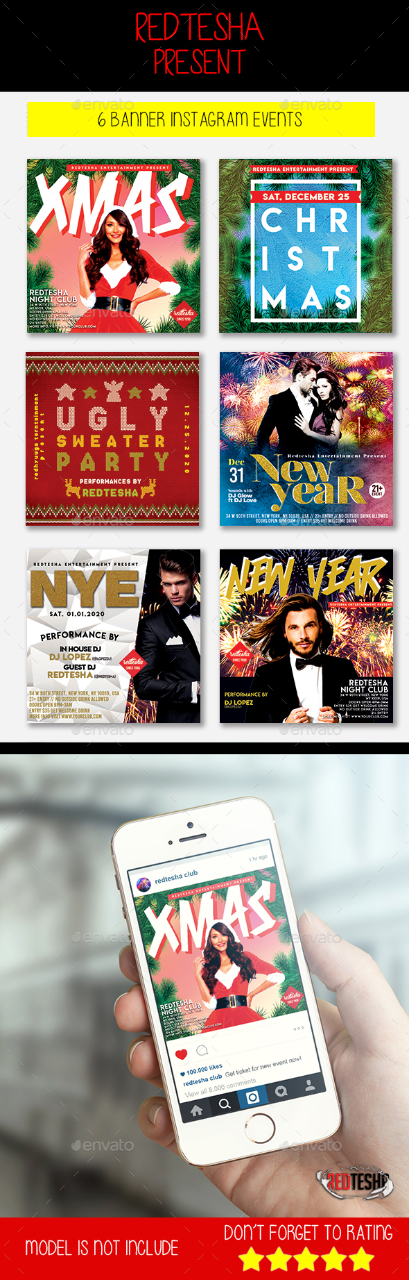 GraphicRiver 6 Christmas & New Year Instagram Banner 21130314