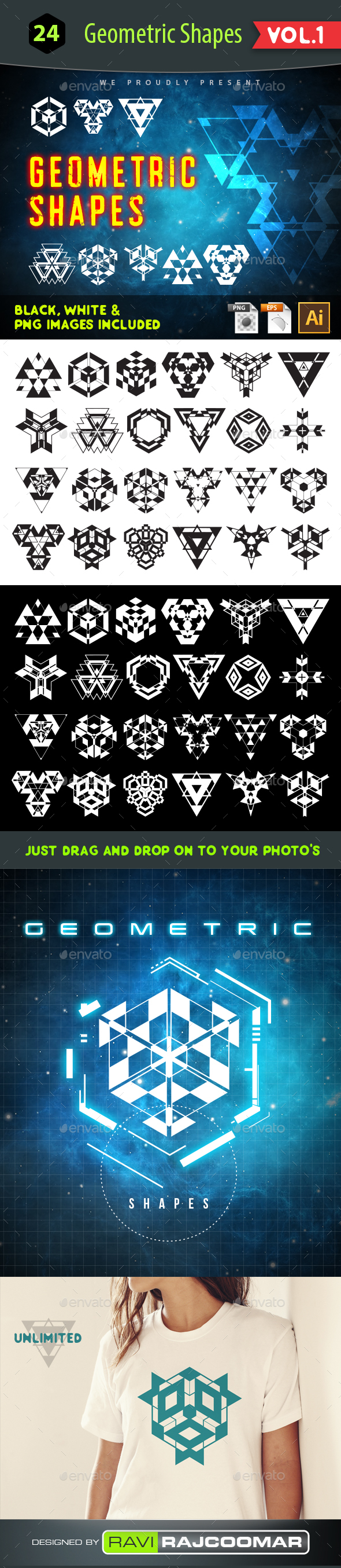 GraphicRiver 24 Geometric Vector Shapes 21130381