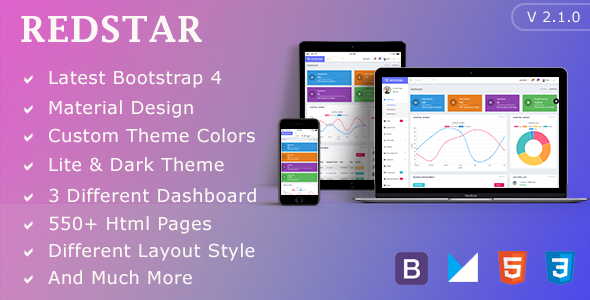 RedStar Hospital - Bootstrap 4 Material Admin Dashboard Template - Admin Templates Site Templates