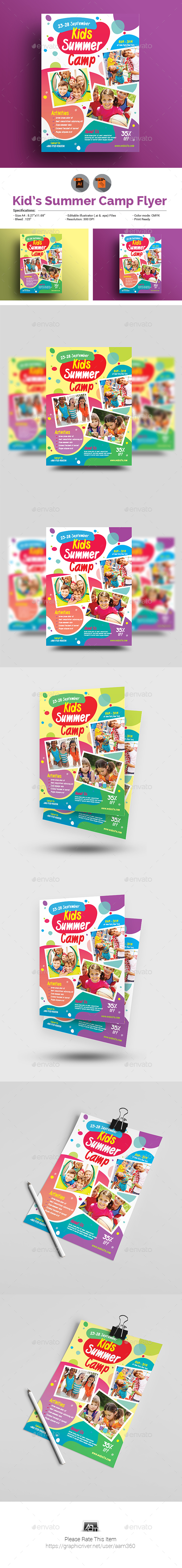 GraphicRiver Kids Activities Kids Camp Flyer 21130485