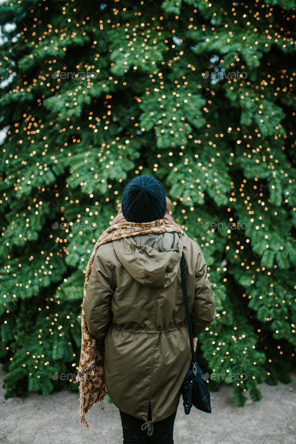 In front of Christmas tree - Stock Photo - Images