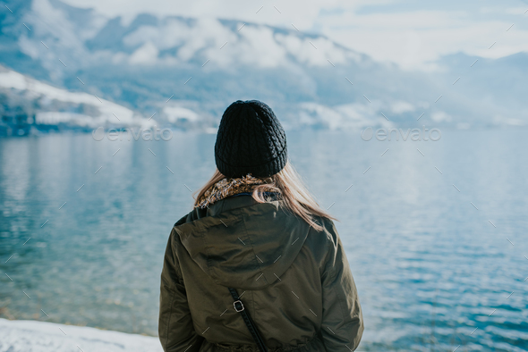 Women by the lake - Stock Photo - Images