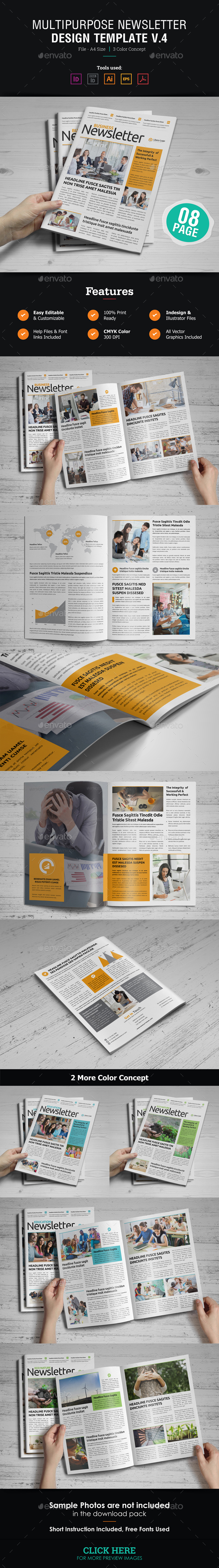 Newsletter Design v4 - Newsletters Print Templates