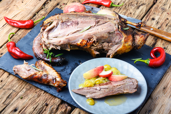 Roast duck with apples - Stock Photo - Images