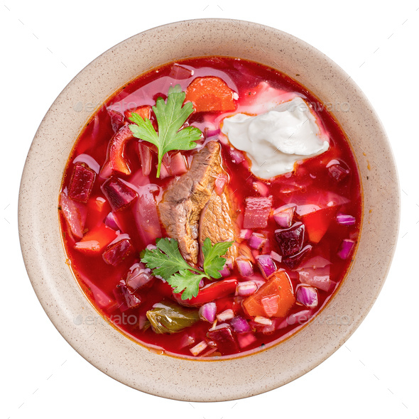 Borscht isolated above - Stock Photo - Images