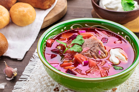 Borscht on table - Stock Photo - Images