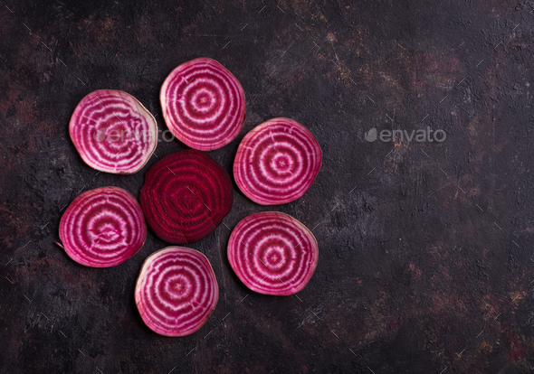 Pattern of sliced beetroots - Stock Photo - Images