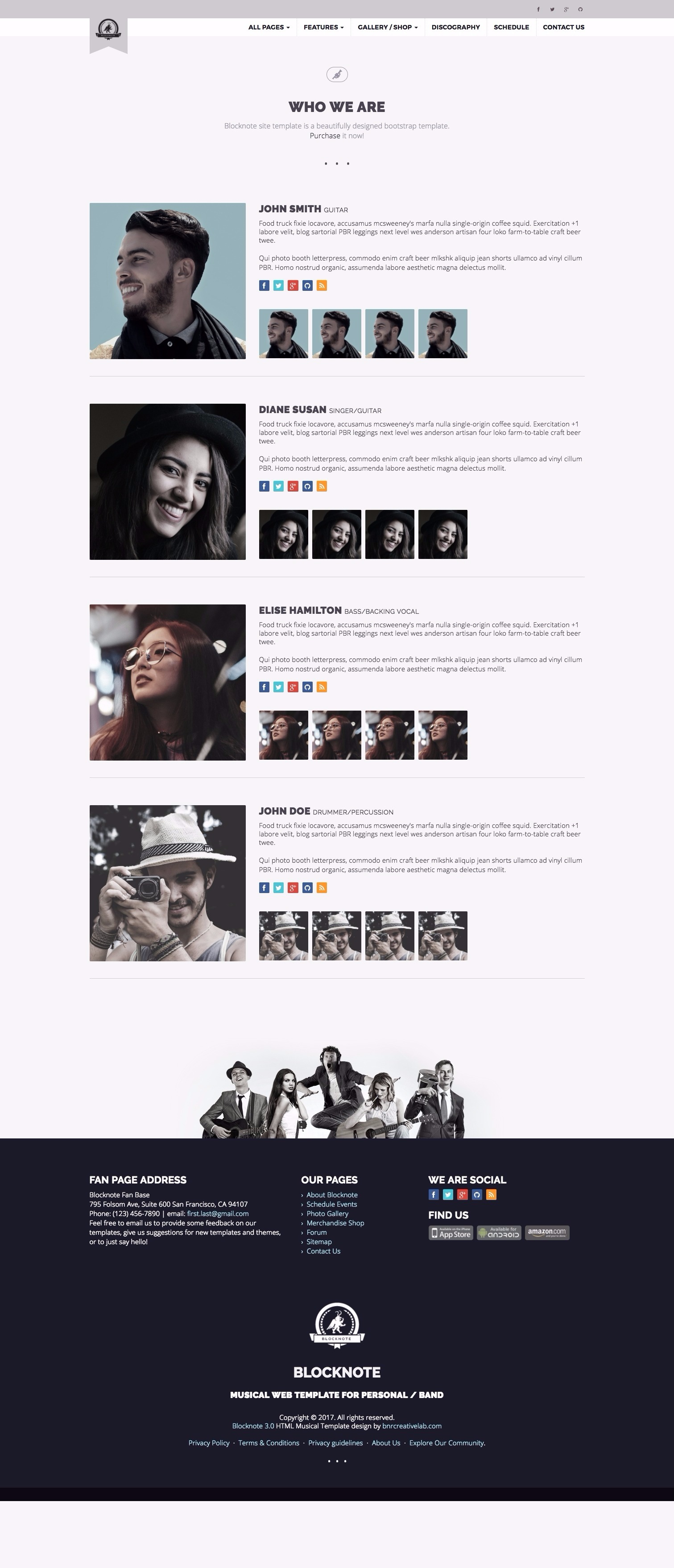 Blocknote - Responsive Website for Band/Musician by bnrcreativelab