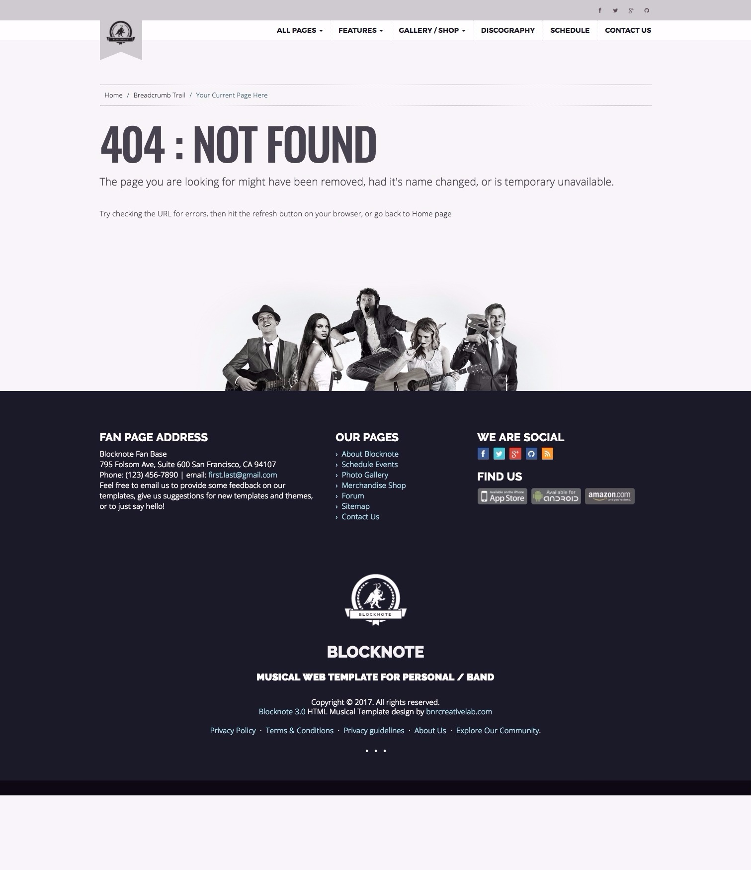 blocknote responsive website for band musician by bnrcreativelab