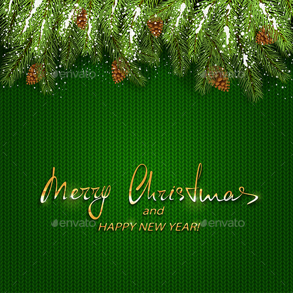 Christmas Lettering on Green Knitted Background and Fir Tree Branches with Snow - Christmas Seasons/Holidays