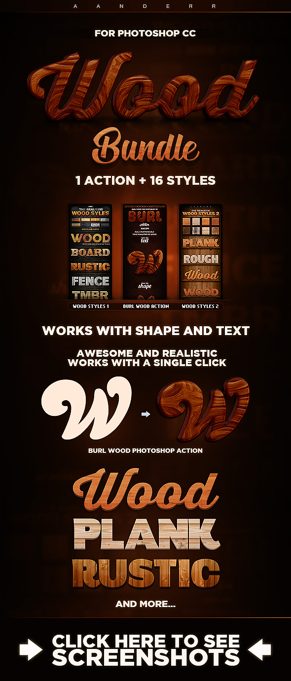 Wood Action & Styles Bundle - Text Effects Styles