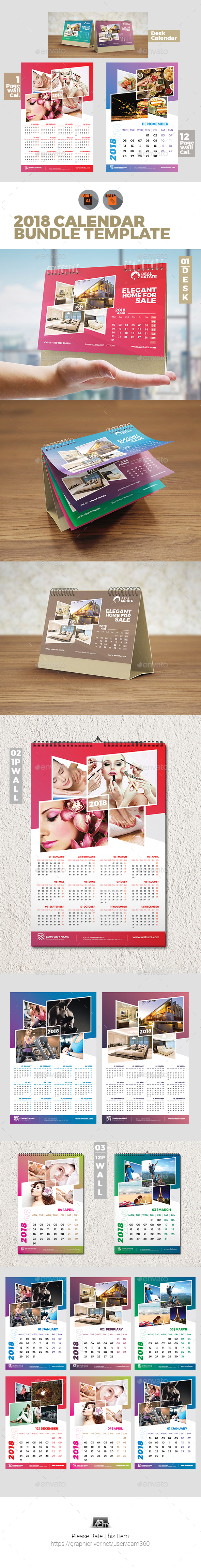 2018 Calendar Bundle Templates - Calendars Stationery