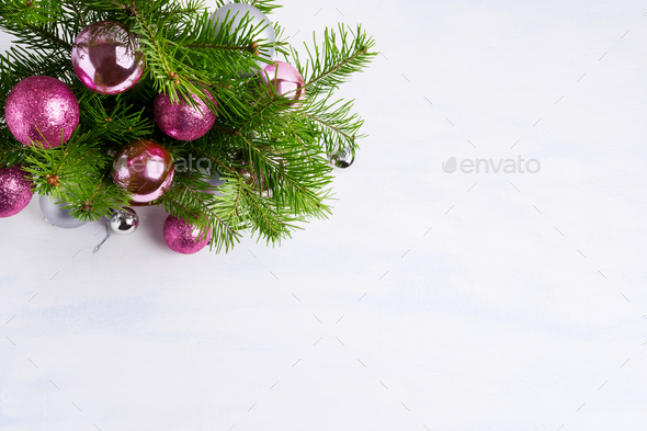 Christmas greeting with magenta, pink and silver ornaments, copy - Stock Photo - Images